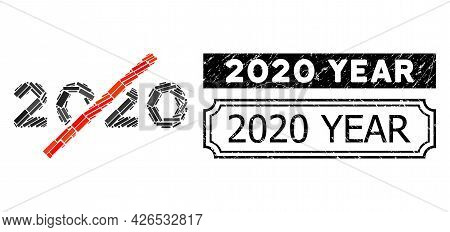 Collage No 2020 Year Composed Of Rectangle Elements, And Black Grunge 2020 Year Rectangle Stamp With