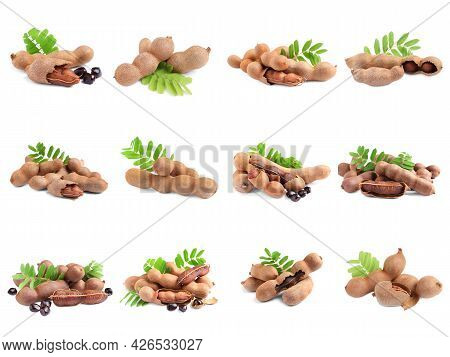 Set With Delicious Ripe Tamarinds On White Background. Exotic Fruit