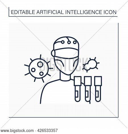 Robot Line Icon. Ai In Medicine. Digital Scientist. Research And Examine Viruses. Ai Diagnostic Conc