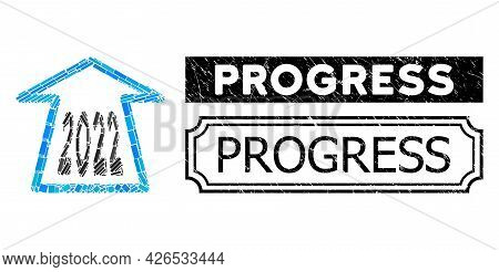 Mosaic 2022 Ahead Arrow Composed Of Rectangle Parts, And Black Grunge Progress Rectangle Stamp With