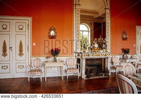 Velke Brezno, Czech Republic, 26 June 2021: Chateau Velke Brezno, Castle Interior, Baroque Furniture
