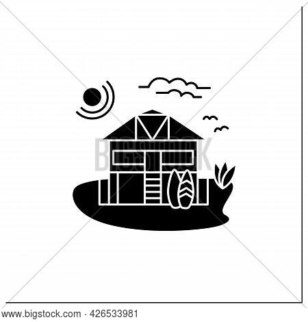 Beach Hut Glyph Icon. Wooden Comfortable House On Beach. Surfboards. Relaxing Place. Rest Concept. F