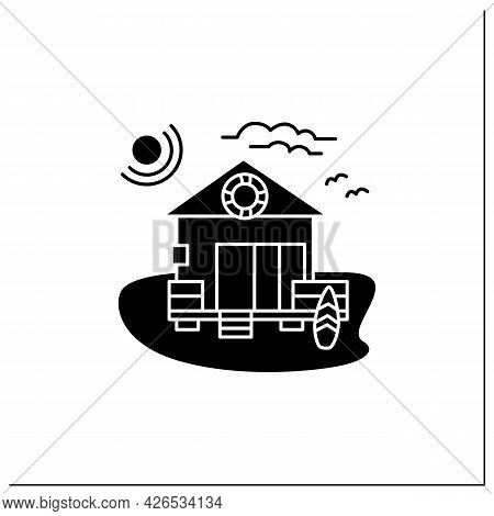 Beach Hut Glyph Icon. Wooden Comfortable House On Beach. Lifebuoy, Surfboards. Seascape. Rest Concep