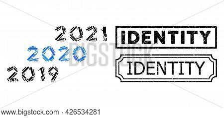 Mosaic 2019 - 2021 Years Designed From Rectangle Parts, And Black Grunge Identity Rectangle Seal Sta