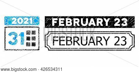 Collage 2021 Last Day Composed Of Rectangle Elements, And Black Grunge February 23 Rectangle Stamp W