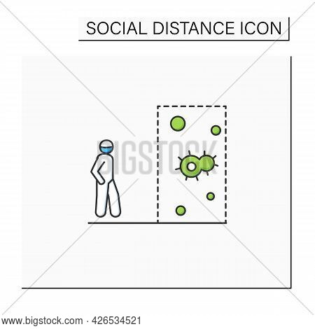 Keep Social Distance Color Icon. Person With Space Indication Arrow Entering Covid Infection Area Li