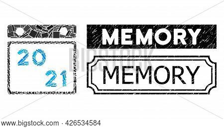 Collage 2021 Calendar Organized From Rectangle Parts, And Black Grunge Memory Rectangle Badge With N