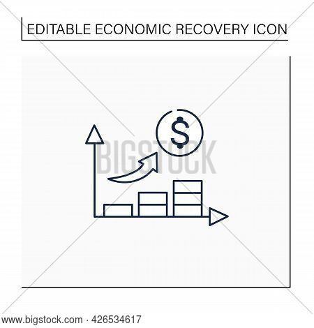 Economic Growth Line Icon. Upswing Period. Key Indicators Rise. Money Inflation.business Concept. Is