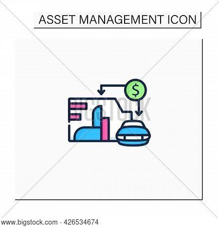 Asset Value Color Icon. Showing Total Assets Value Company Or Organization. Car, Enterprise. Busines
