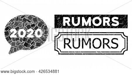 Collage 2020 Message Cloud Composed Of Rectangle Parts, And Black Grunge Rumors Rectangle Seal Stamp