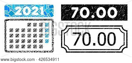 Collage 2021 Month Calendar Composed Of Rectangle Elements, And Black Grunge 70.00 Rectangle Seal St