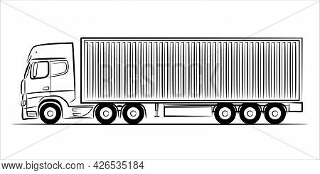 Container Truck Abstract Silhouette On White Background.  A Hand Drawn Line Art Of A Trailer Truck C