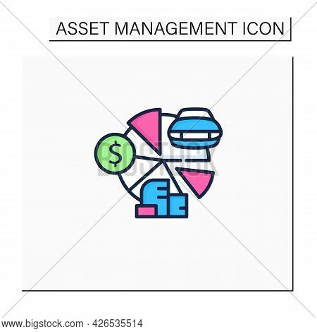 Total Asset Count Color Icon. All Ownership Aspects.car, Cash, Accounts Receivable, Private Property