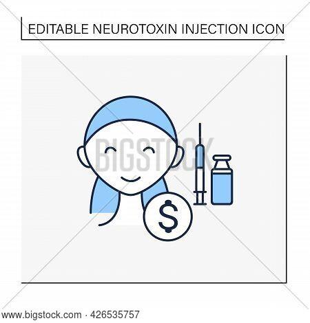 Cosmetic Injection Line Icon. Perfect Procedure Price. Happy Customer.vaccine Recruitment. Beauty Co