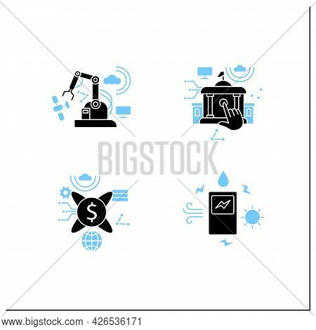 Digital Transformation Glyph Icons Set. Modern Technologies. Saving Energy, Tokenization, Electronic