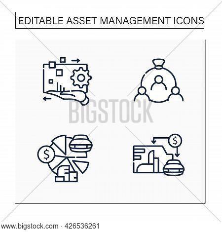 Asset Management Line Icons Set. Financial Resources. Digital Management, Human Capital, Total Asset