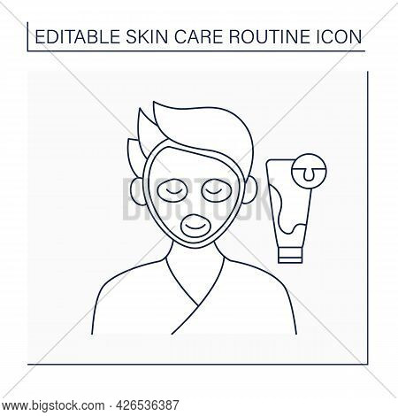 Cosmetology Line Icon. Natural Facial Mask For Cleaning Pores. Man Doing Beauty Procedure. Skin Care