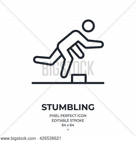 Stumbling Accident Editable Stroke Outline Icon Isolated On White Background Flat Vector Illustratio