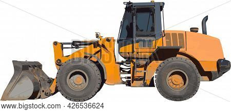 Construction Equipment Backhoe Digger Excavator Yellow Machine Vector Illustration