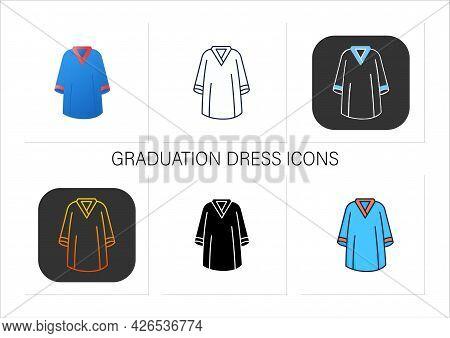 Graduation Dress Icons Set. Special Graduate Mantle. Holiday Costume. Graduate Uniform.graduation Co
