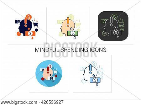 Mindful Spending Icons Set.thoughtful Shopping.necessary Purchases.profitable Investment. Thoughtful