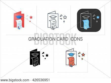 Graduation Card Icons Set. Successful Training Completion. Learning Achievement Document. Graduation