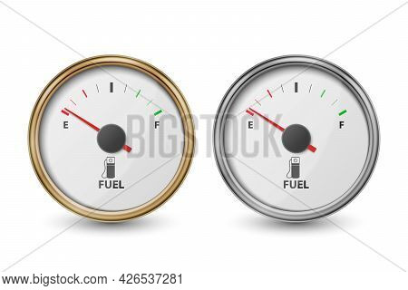 Vector 3d Realistic Golden And Silver Circle Gas Fuel Tank Gauge, Oil Level Bar Icon Set Isolated On