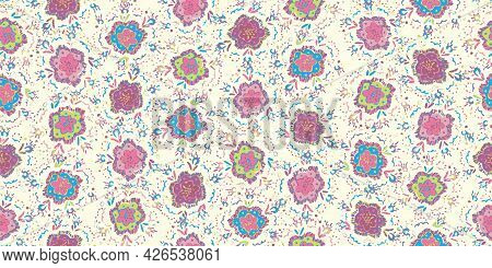 A Colorful Pastel Flowerbed Seamless Vector Pattern