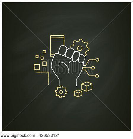 Digital Revolution Chalk Icon. Fist Up. Support Transition From Analog Technologies. Digital Transfo