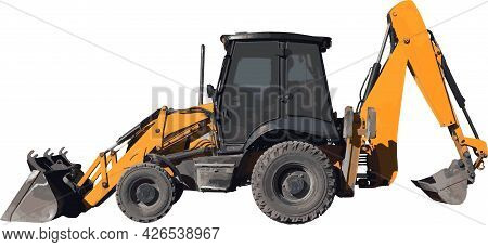 Construction Equipment Excavator Digger Yellow Machine Vector Illustration