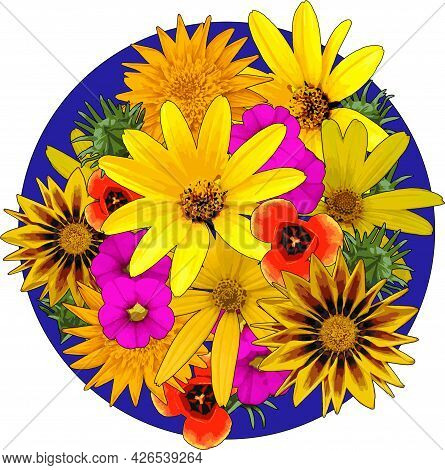 Flowers Vector Illustration Yellow Daisy Blooming On Blue Circle