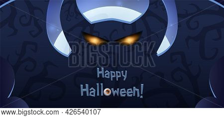 Blue Shining Halloween Card With Silhouette Of Dark Horned Demon