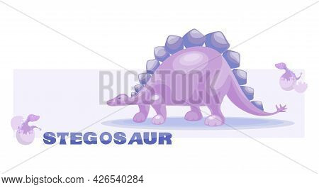 Pink Dino. Stegosaur With Babies Sitting In Eggs. Cute Dinosaur Vector Drawing For Print. Poster Is