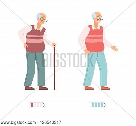 Vigorous Energetic And Tired Exhausted Old Man Vector Illustration Isolated.