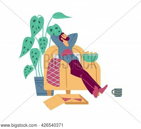 Lazy Man Napping In Chair With Fast Food, Flat Vector Illustration Isolated.