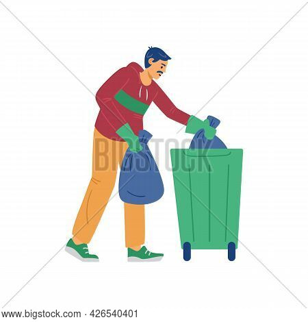 Man Putting Litter Into Garbage Container, Flat Vector Illustration Isolated.