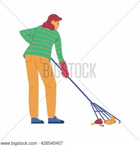 Woman Collecting Street Garbage With Rake, Flat Vector Illustration Isolated.