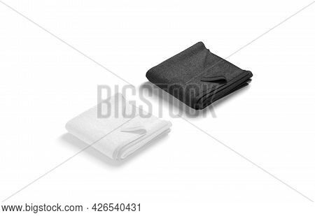 Blaank Black And White Folded Towel With Deferred Corner Mockup, 3d Rendering. Empty Absorb Jack-tow