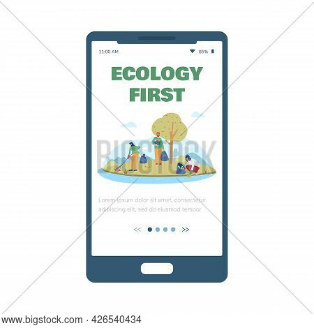 Ecology And Environment Onboarding Screen Mockup, Flat Vector Illustration.
