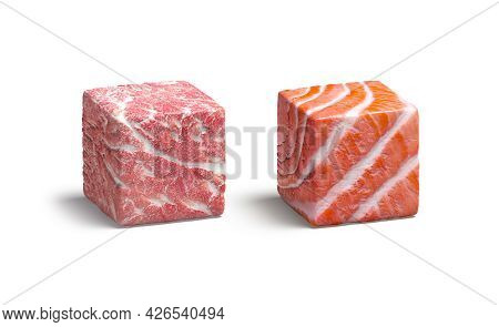 Blank Meat And Fish Cube Mockup, Isolated, 3d Rendering. Empty Raw Beef And Salmon Surface Cuboid Mo