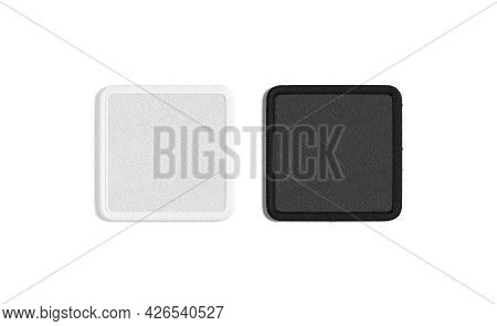 Blank Black And White Square Embroidered Patch Mockup, Top View, 3d Rendering. Empty Embroidery Atta