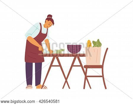 Woman In Apron Cutting Food For Cooking, Flat Vector Illustration Isolated.