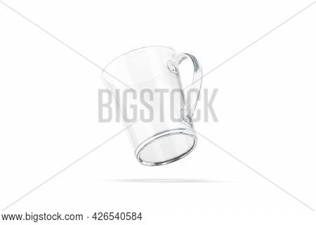 Blank Glass Bell-shaped 11oz Mug With Handle Mockup, No Gravity, 3d Rendering. Empty Crystal Coffeem