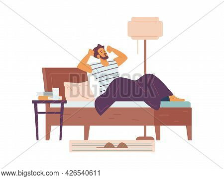 Sleepy Young Man Wake Up And Stretching In Bed At Morning A Vector Illustration.