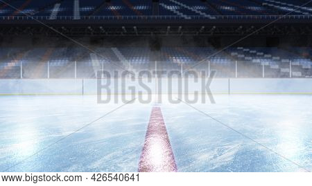 Blank Ice Skates Background Mockup, Side View, 3d Rendering. Arena Surface For Professional Hockey O