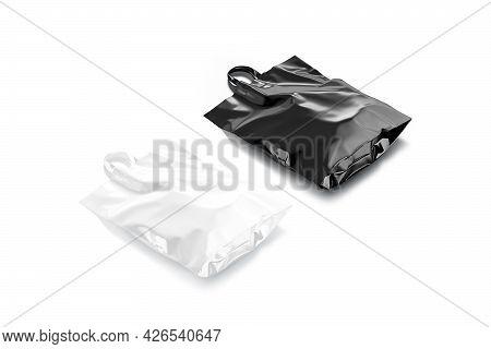 Blank Black And White Full Loop Handle Plastic Bag Mockup, 3d Rendering. Empty Polythene Wrap For Su