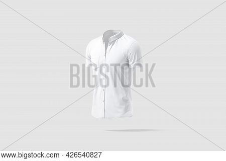 Blank White Short Sleeve Button Down Shirt Mockup, Gray Background, 3d Rendering. Empty Dress Code A