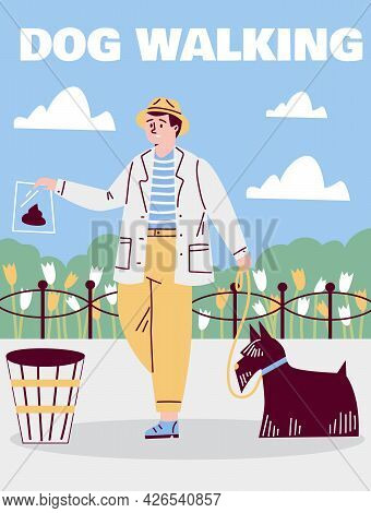 Man With Dog Cleaning Up Excrements After Pet, Cartoon Vector Illustration.