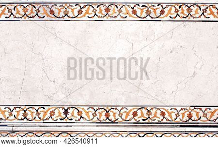 Horizontal background with ancient decorative mosaic on marble, India. Horizontal banner with decorative stone ornament. Mock up template. Copy space for text