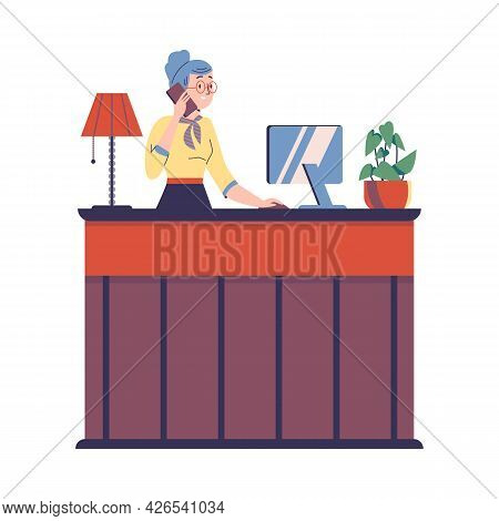 Hotel Receptionist Making Apartments Reservation, Vector Illustration Isolated.